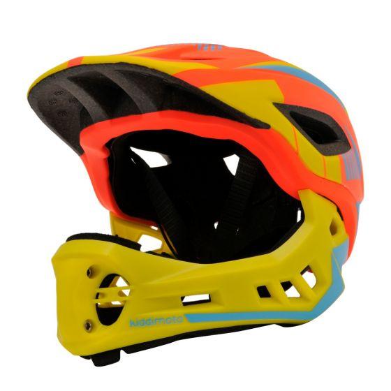 Kiddimoto Ikon Full Face Kids Helmet - Orange/Yellow