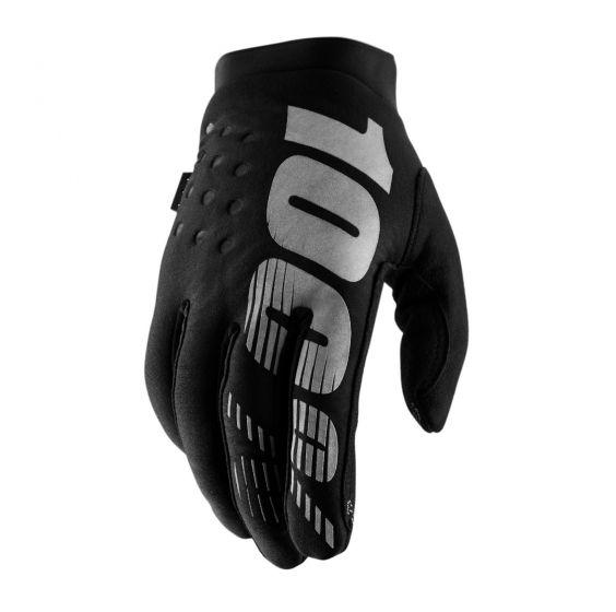 100% Brisker Cold Weather Gloves - Black/Grey