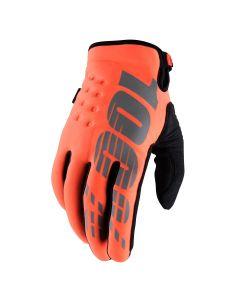 100% Brisker Cold Weather Youth Gloves - Orange
