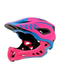 Kiddimoto Ikon Full Face Kids Helmet - Pink/Blue