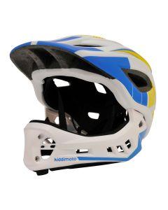 Kiddimoto Ikon Full Face Kids Helmet - White/Blue