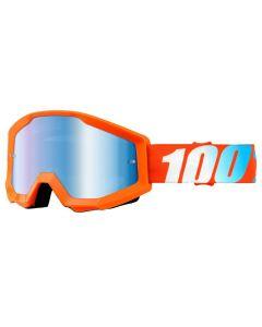100% Strata Goggles - Orange - Mirror Blue Lens